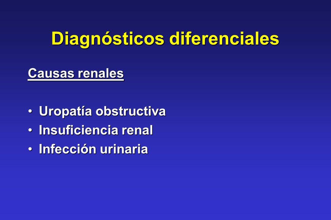 Diagnósticos diferenciales Causas renales Uropatía obstructivaUropatía obstructiva Insuficiencia renalInsuficiencia renal Infección urinariaInfección
