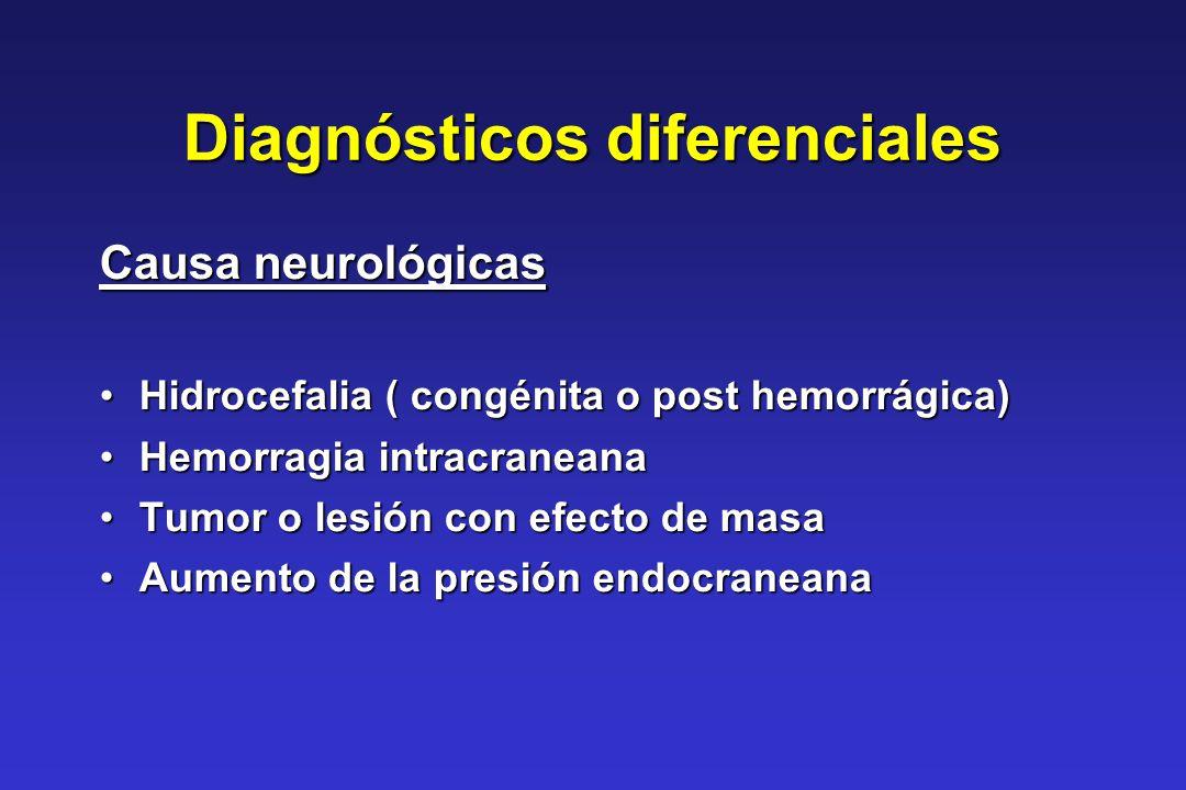Diagnósticos diferenciales Causa neurológicas Hidrocefalia ( congénita o post hemorrágica)Hidrocefalia ( congénita o post hemorrágica) Hemorragia intr