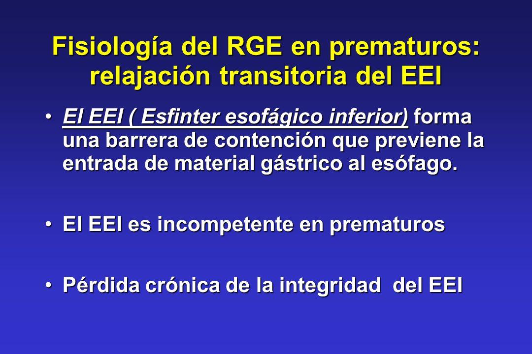 Fisiología del RGE en prematuros: relajación transitoria del EEI El EEI ( Esfinter esofágico inferior) forma una barrera de contención que previene la