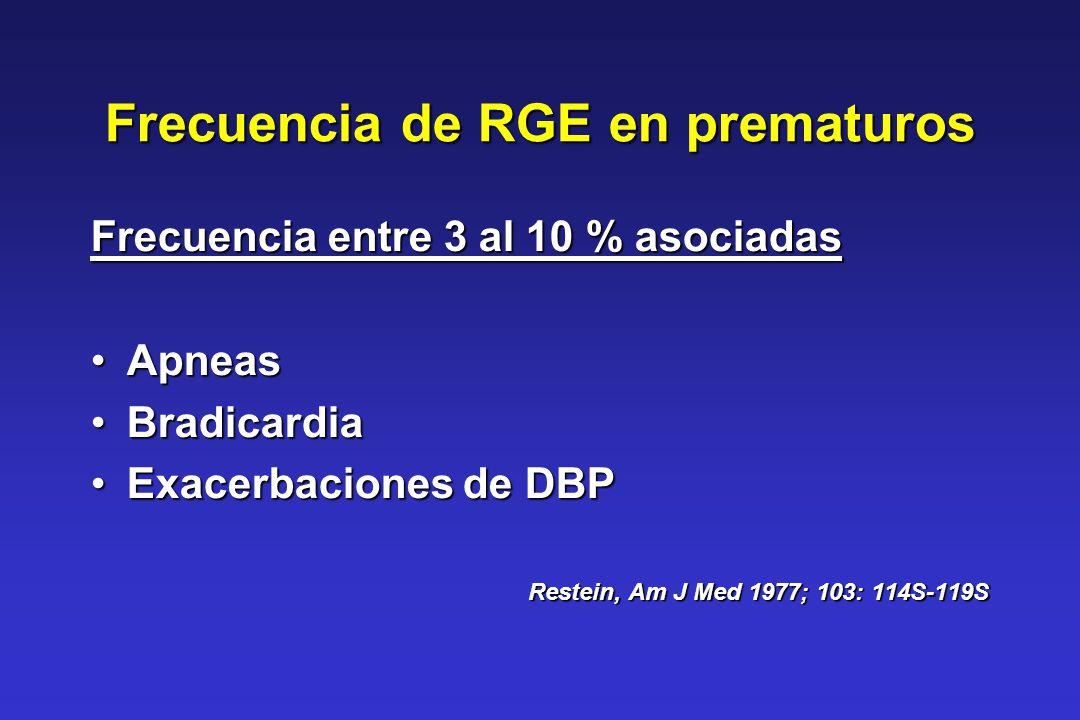 Frecuencia de RGE en prematuros Frecuencia entre 3 al 10 % asociadas ApneasApneas BradicardiaBradicardia Exacerbaciones de DBPExacerbaciones de DBP Re