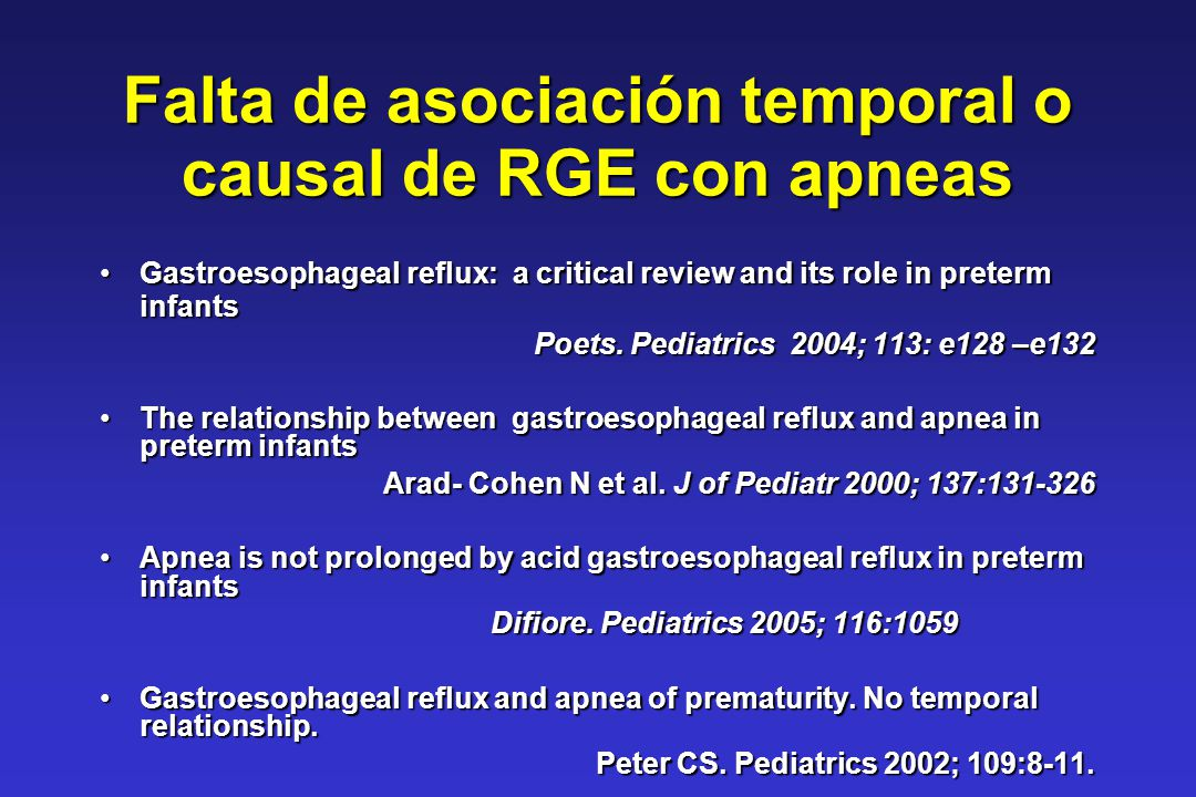 Falta de asociación temporal o causal de RGE con apneas Gastroesophageal reflux: a critical review and its role in preterm infantsGastroesophageal ref