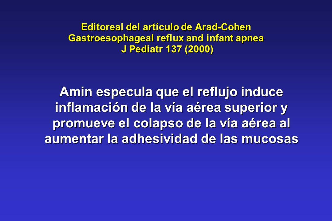 Editoreal del artículo de Arad-Cohen Gastroesophageal reflux and infant apnea J Pediatr 137 (2000) Amin especula que el reflujo induce inflamación de