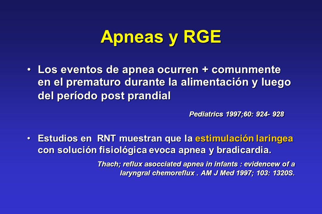 Apneas y RGE Los eventos de apnea ocurren + comunmente en el prematuro durante la alimentación y luego del período post prandialLos eventos de apnea o