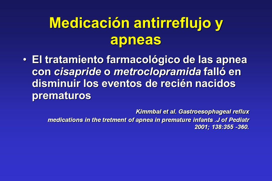 Medicación antirreflujo y apneas El tratamiento farmacológico de las apnea con cisapride o metroclopramida falló en disminuir los eventos de recién na