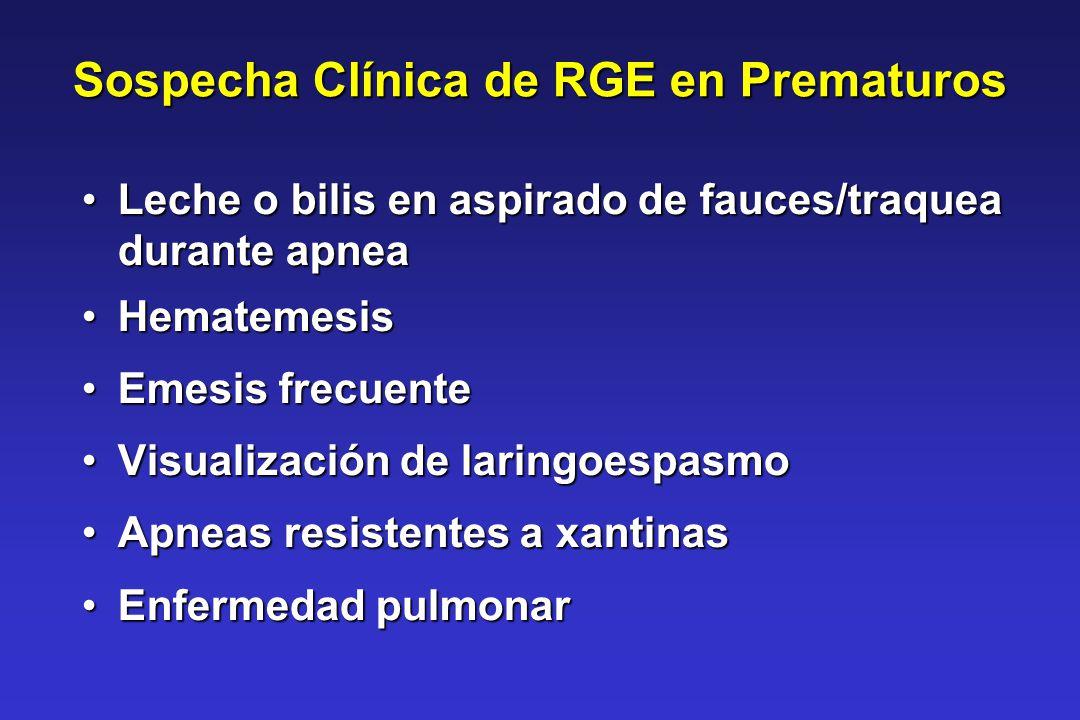 Sospecha Clínica de RGE en Prematuros Leche o bilis en aspirado de fauces/traquea durante apneaLeche o bilis en aspirado de fauces/traquea durante apn