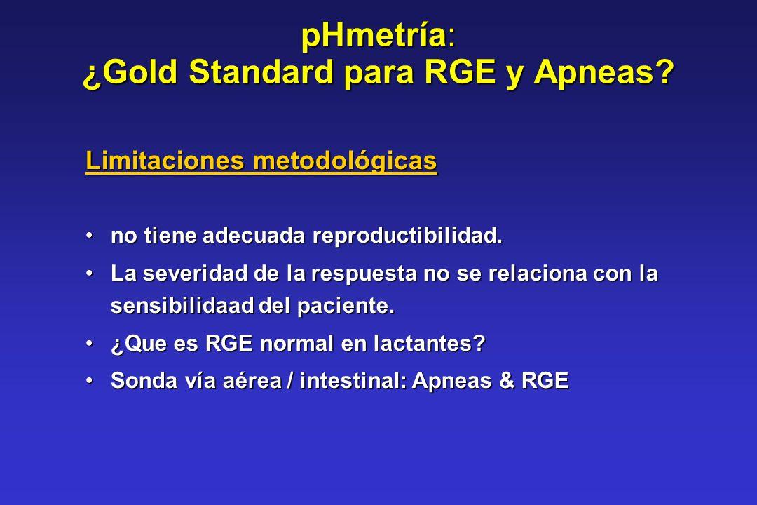 pHmetría: ¿Gold Standard para RGE y Apneas? Limitaciones metodológicas no tiene adecuada reproductibilidad.no tiene adecuada reproductibilidad. La sev