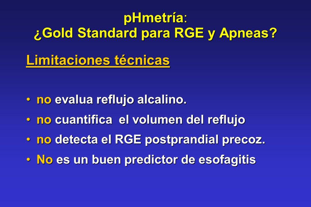 pHmetría: ¿Gold Standard para RGE y Apneas? Limitaciones técnicas no evalua reflujo alcalino.no evalua reflujo alcalino. no cuantifica el volumen del