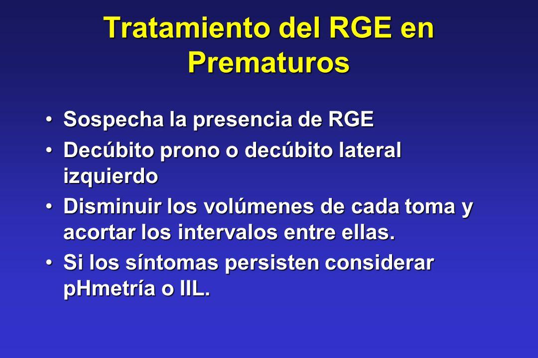 Tratamiento del RGE en Prematuros Sospecha la presencia de RGESospecha la presencia de RGE Decúbito prono o decúbito lateral izquierdoDecúbito prono o