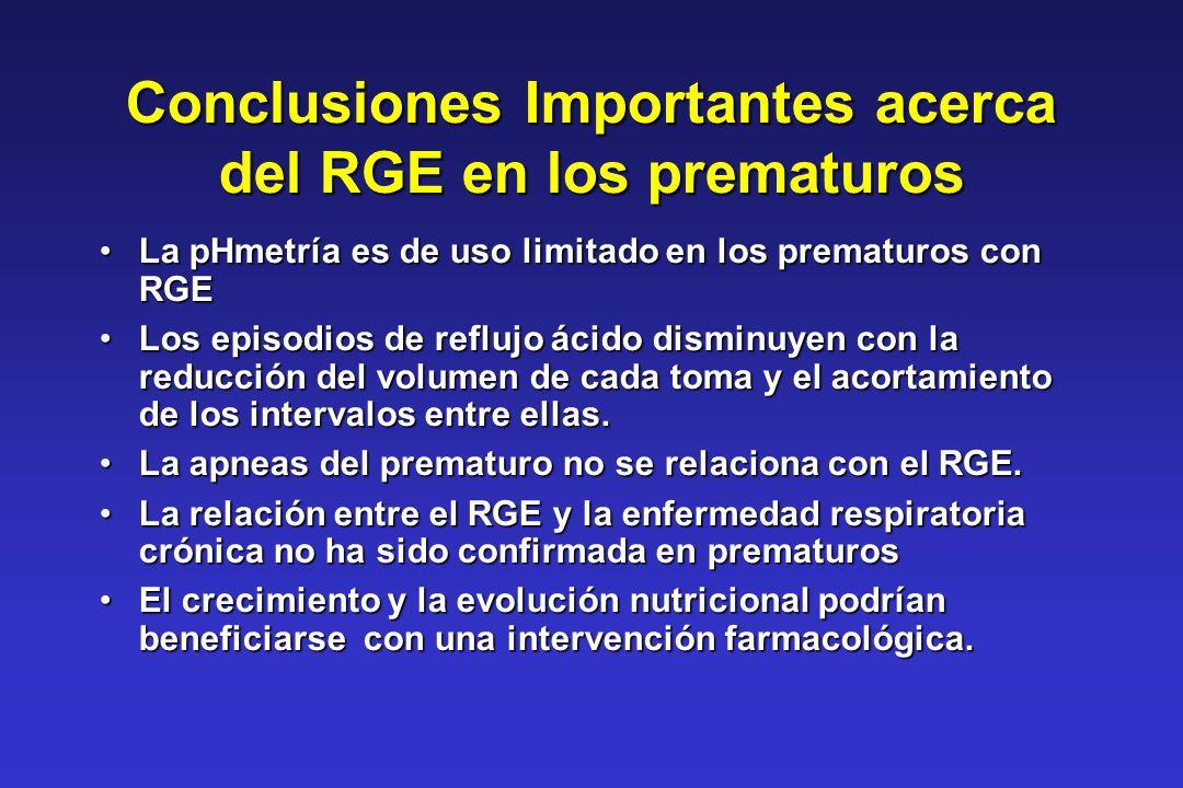 Conclusiones Importantes acerca del RGE en los prematuros La pHmetría es de uso limitado en los prematuros con RGELa pHmetría es de uso limitado en lo