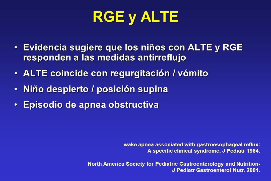 RGE y ALTE Evidencia sugiere que los niños con ALTE y RGE responden a las medidas antirreflujoEvidencia sugiere que los niños con ALTE y RGE responden