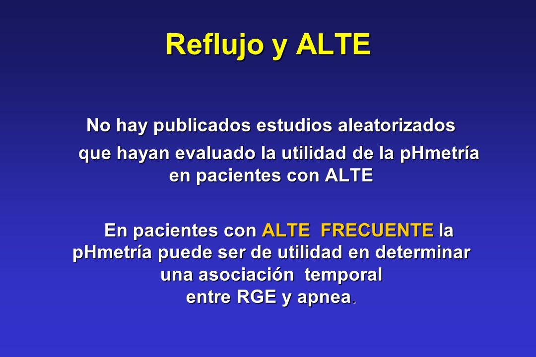Reflujo y ALTE No hay publicados estudios aleatorizados que hayan evaluado la utilidad de la pHmetría en pacientes con ALTE que hayan evaluado la util