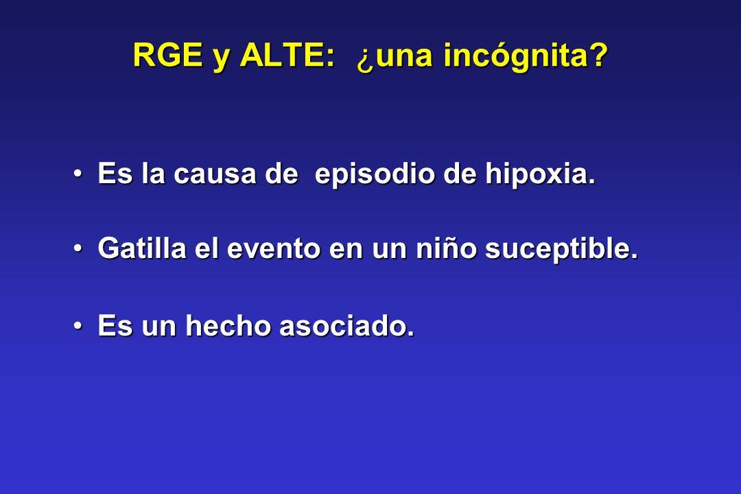 RGE y ALTE: ¿una incógnita? Es la causa de episodio de hipoxia.Es la causa de episodio de hipoxia. Gatilla el evento en un niño suceptible.Gatilla el