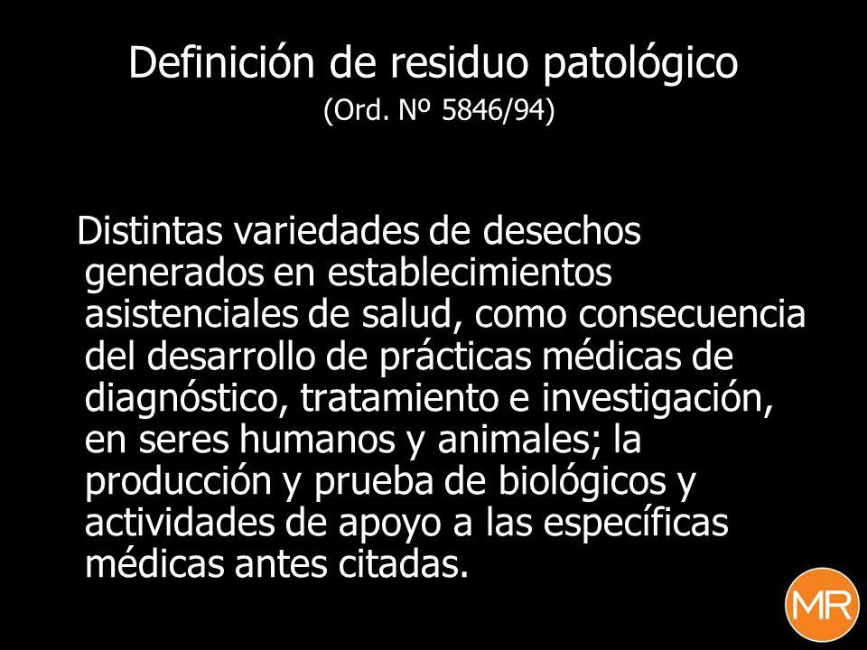 Tipificación de los residuos (Anexo I, Ord.