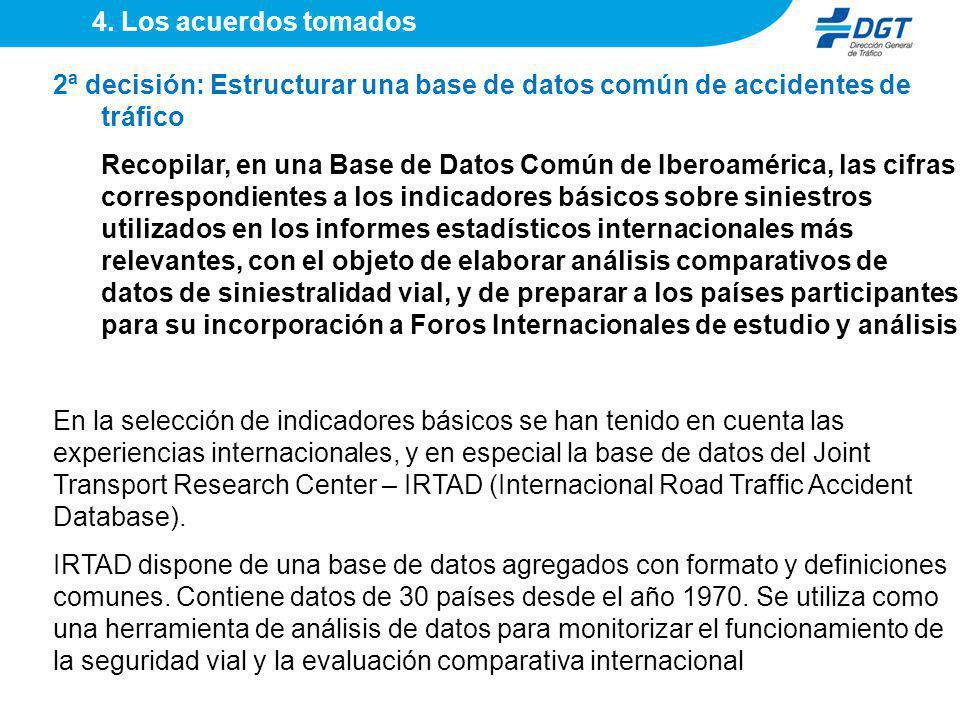 2ª decisión: Estructurar una base de datos común de accidentes de tráfico Recopilar, en una Base de Datos Común de Iberoamérica, las cifras correspond