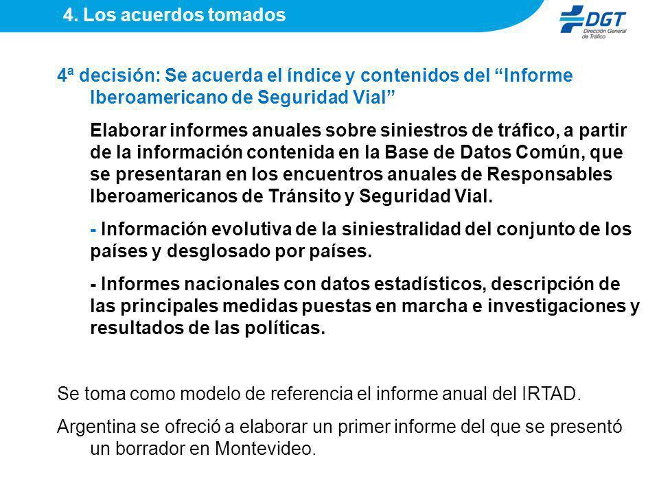 4ª decisión: Se acuerda el índice y contenidos del Informe Iberoamericano de Seguridad Vial Elaborar informes anuales sobre siniestros de tráfico, a p