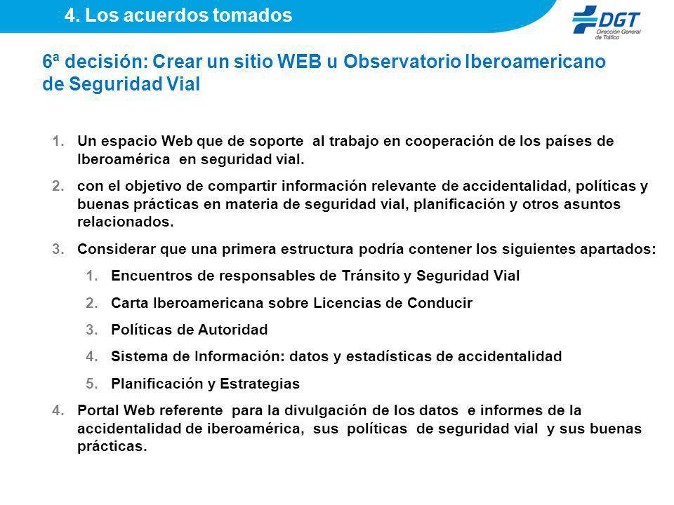 1.Un espacio Web que de soporte al trabajo en cooperación de los países de Iberoamérica en seguridad vial. 2.con el objetivo de compartir información