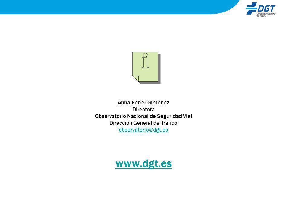 Anna Ferrer Giménez Directora Observatorio Nacional de Seguridad Vial Dirección General de Tráfico observatorio@dgt.es www.dgt.es