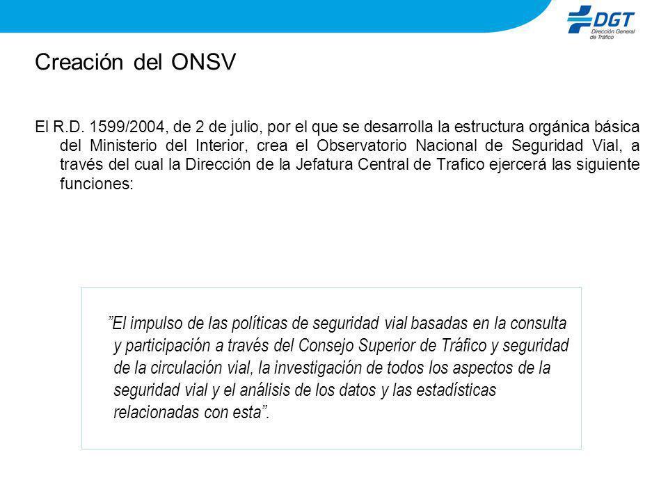 Creación del ONSV El R.D. 1599/2004, de 2 de julio, por el que se desarrolla la estructura orgánica básica del Ministerio del Interior, crea el Observ