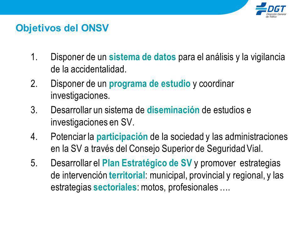 Objetivos del ONSV 1.Disponer de un sistema de datos para el análisis y la vigilancia de la accidentalidad. 2.Disponer de un programa de estudio y coo