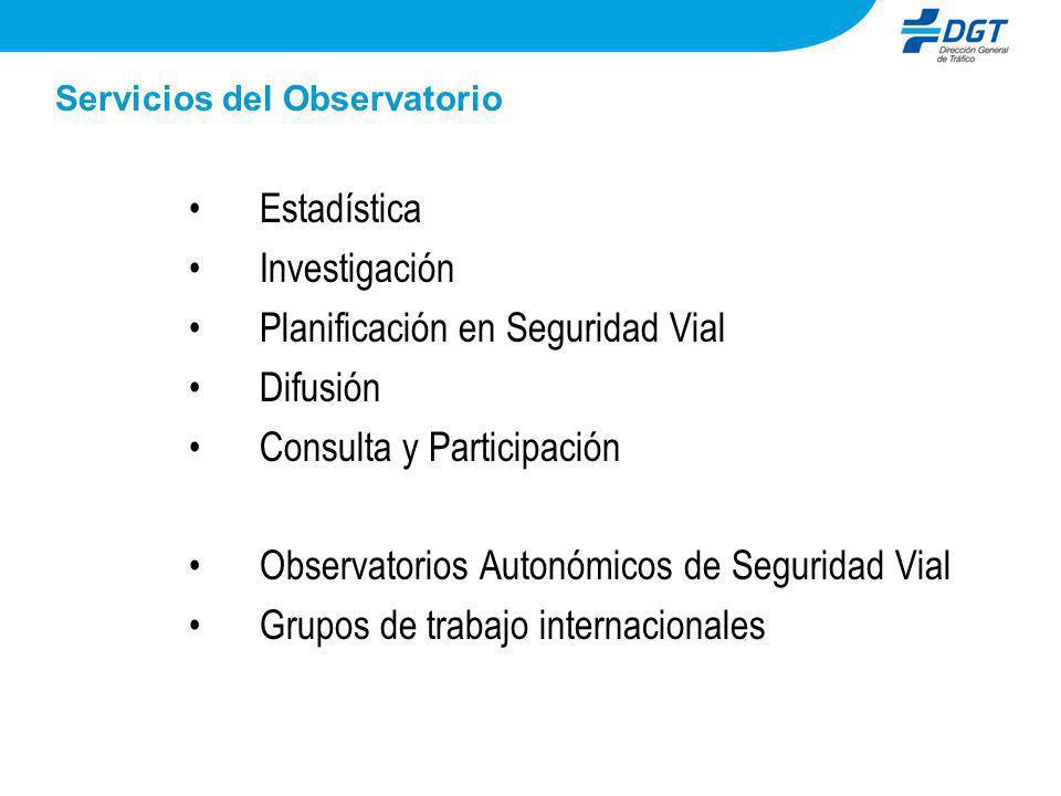 Servicios del Observatorio Estadística Investigación Planificación en Seguridad Vial Difusión Consulta y Participación Observatorios Autonómicos de Se