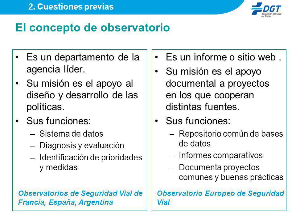El concepto de observatorio Es un departamento de la agencia líder. Su misión es el apoyo al diseño y desarrollo de las políticas. Sus funciones: –Sis