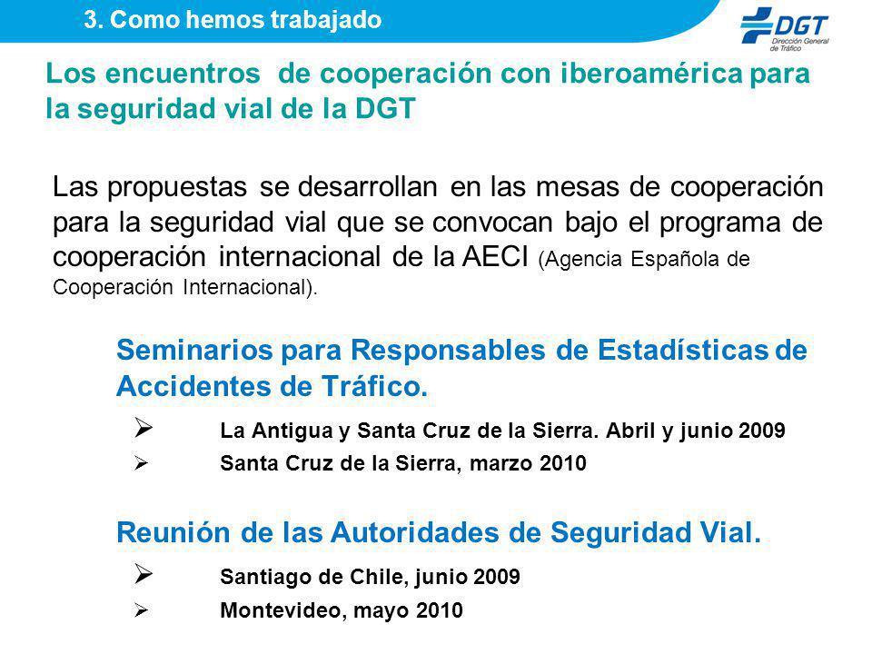 Los encuentros de cooperación con iberoamérica para la seguridad vial de la DGT Seminarios para Responsables de Estadísticas de Accidentes de Tráfico.