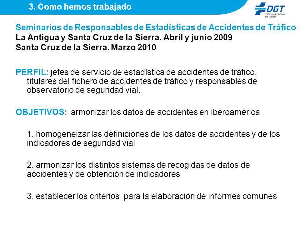 Seminarios de Responsables de Estadísticas de Accidentes de Tráfico La Antigua y Santa Cruz de la Sierra. Abril y junio 2009 Santa Cruz de la Sierra.