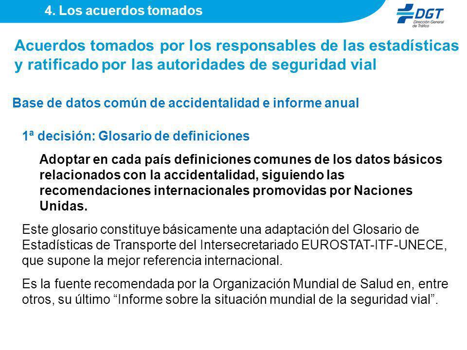 1ª decisión: Glosario de definiciones Adoptar en cada país definiciones comunes de los datos básicos relacionados con la accidentalidad, siguiendo las