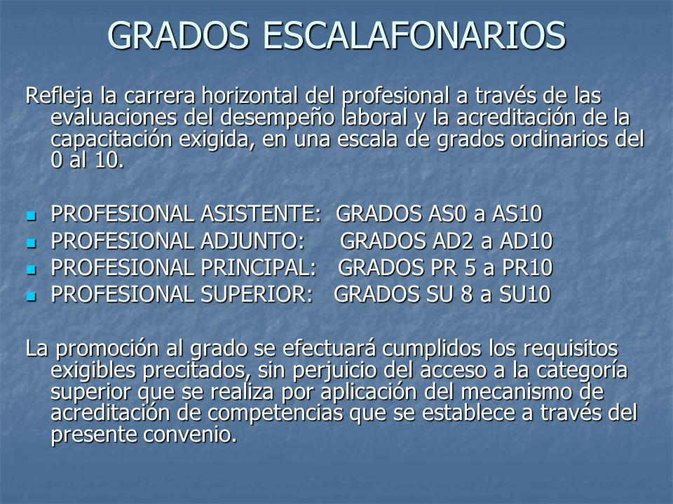 GRADOS ESCALAFONARIOS Refleja la carrera horizontal del profesional a través de las evaluaciones del desempeño laboral y la acreditación de la capacitación exigida, en una escala de grados ordinarios del 0 al 10.