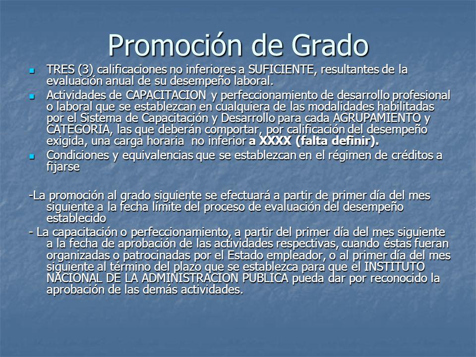 Promoción de Grado TRES (3) calificaciones no inferiores a SUFICIENTE, resultantes de la evaluación anual de su desempeño laboral.
