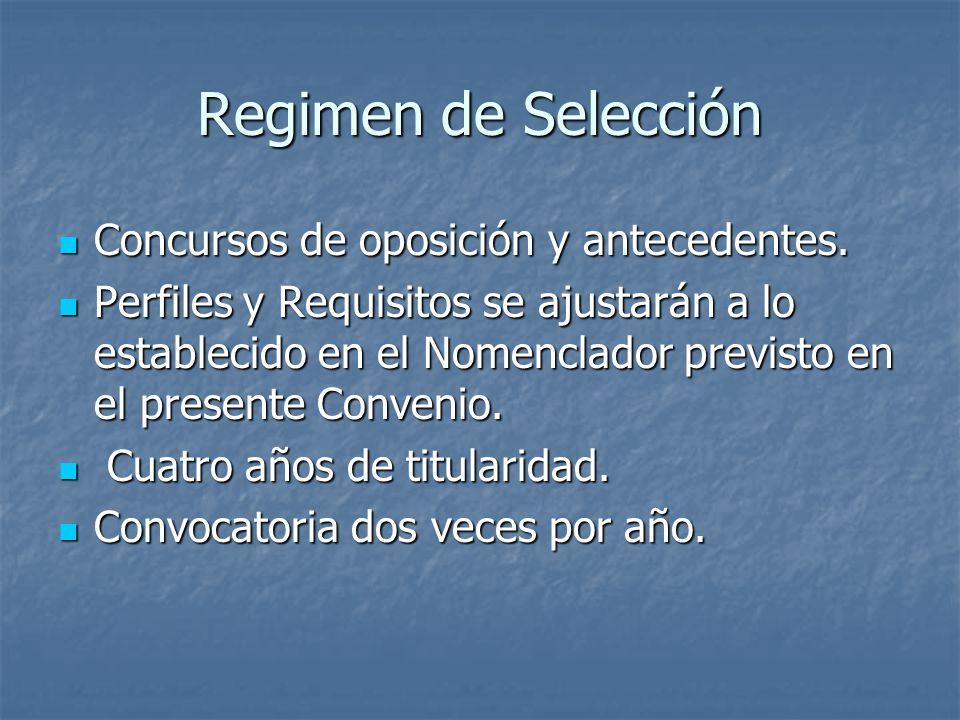 Regimen de Selección Concursos de oposición y antecedentes.