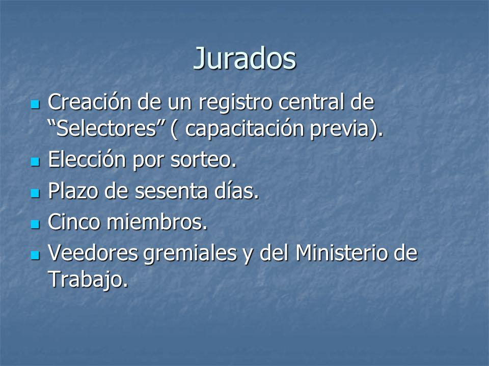 Jurados Creación de un registro central de Selectores ( capacitación previa).