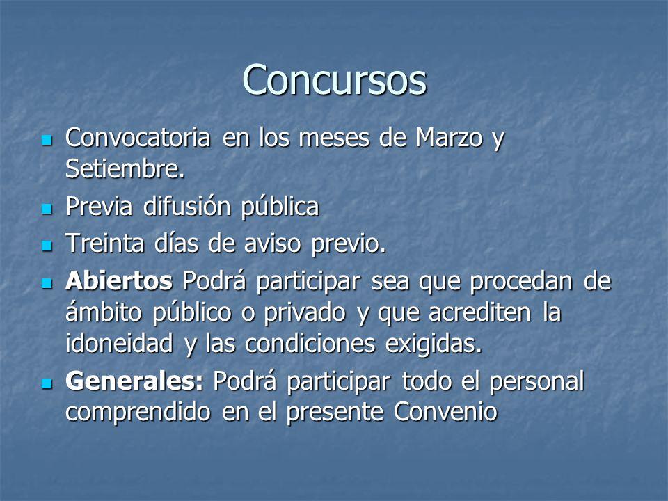 Concursos Convocatoria en los meses de Marzo y Setiembre.