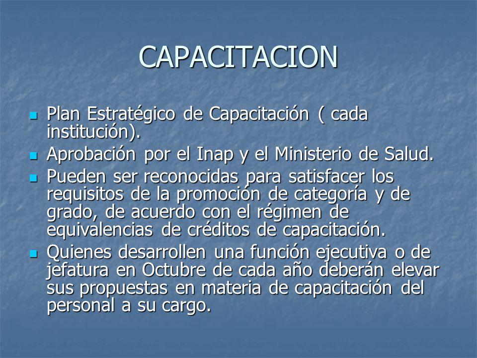CAPACITACION Plan Estratégico de Capacitación ( cada institución).