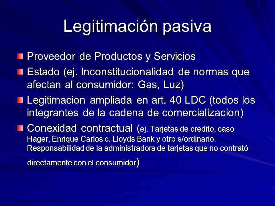 Legitimación pasiva Proveedor de Productos y Servicios Estado (ej. Inconstitucionalidad de normas que afectan al consumidor: Gas, Luz) Legitimacion am