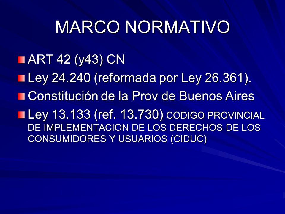 MARCO NORMATIVO ART 42 (y43) CN Ley 24.240 (reformada por Ley 26.361). Constitución de la Prov de Buenos Aires Ley 13.133 (ref. 13.730) CODIGO PROVINC