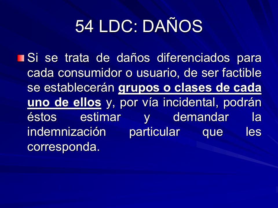 54 LDC: DAÑOS Si se trata de daños diferenciados para cada consumidor o usuario, de ser factible se establecerán grupos o clases de cada uno de ellos
