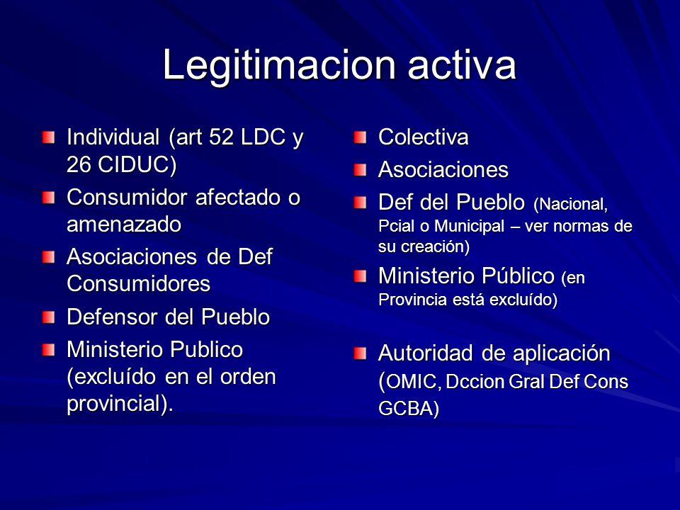 Legitimacion activa Individual (art 52 LDC y 26 CIDUC) Consumidor afectado o amenazado Asociaciones de Def Consumidores Defensor del Pueblo Ministerio