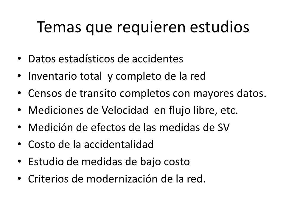 Temas que requieren estudios Datos estadísticos de accidentes Inventario total y completo de la red Censos de transito completos con mayores datos. Me