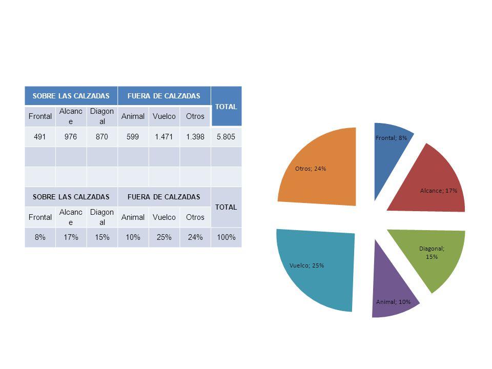 SOBRE LAS CALZADASFUERA DE CALZADAS TOTAL Frontal Alcanc e Diagon al AnimalVuelcoOtros 4919768705991.4711.3985.805 SOBRE LAS CALZADASFUERA DE CALZADAS TOTAL Frontal Alcanc e Diagon al AnimalVuelcoOtros 8%17%15%10%25%24%100%
