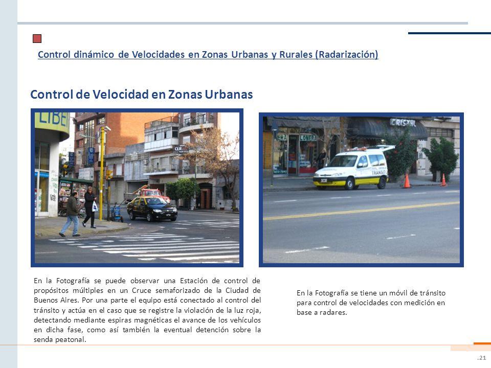 .21 Control dinámico de Velocidades en Zonas Urbanas y Rurales (Radarización) Control de Velocidad en Zonas Urbanas En la Fotografía se tiene un móvil de tránsito para control de velocidades con medición en base a radares.