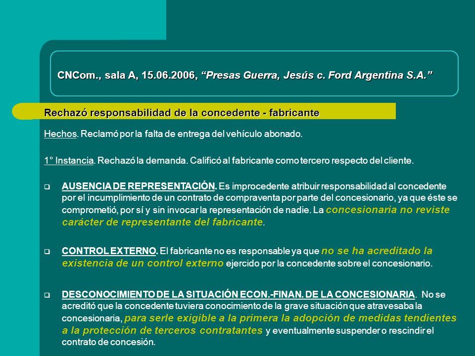 Rechazó responsabilidad de la concedente - fabricante AUSENCIA DE REPRESENTACIÓN.