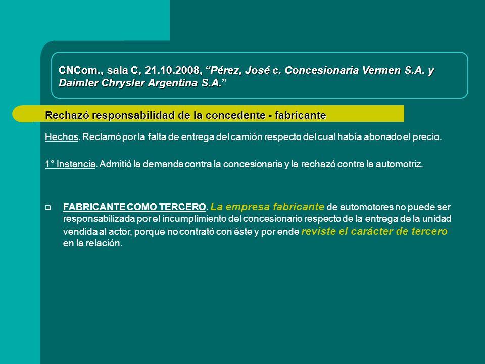 Rechazó responsabilidad de la concedente - fabricante FABRICANTE COMO TERCERO.