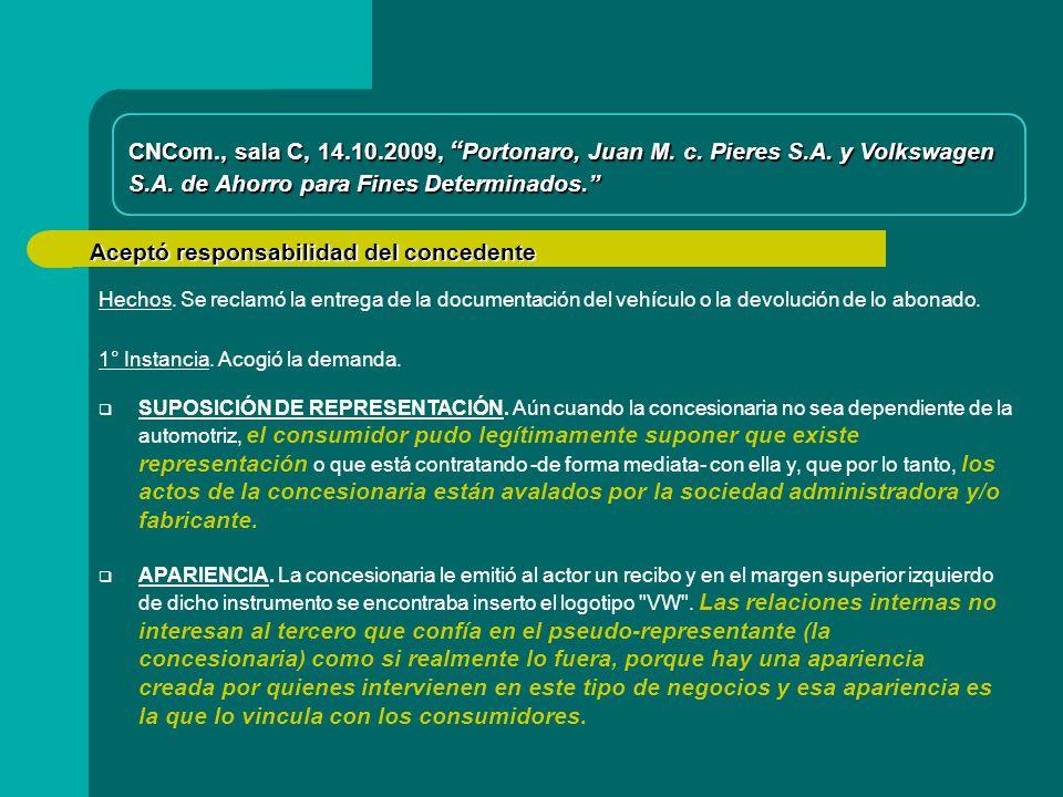 Aceptó responsabilidad del concedente CNCom., sala C, 14.10.2009, Portonaro, Juan M.