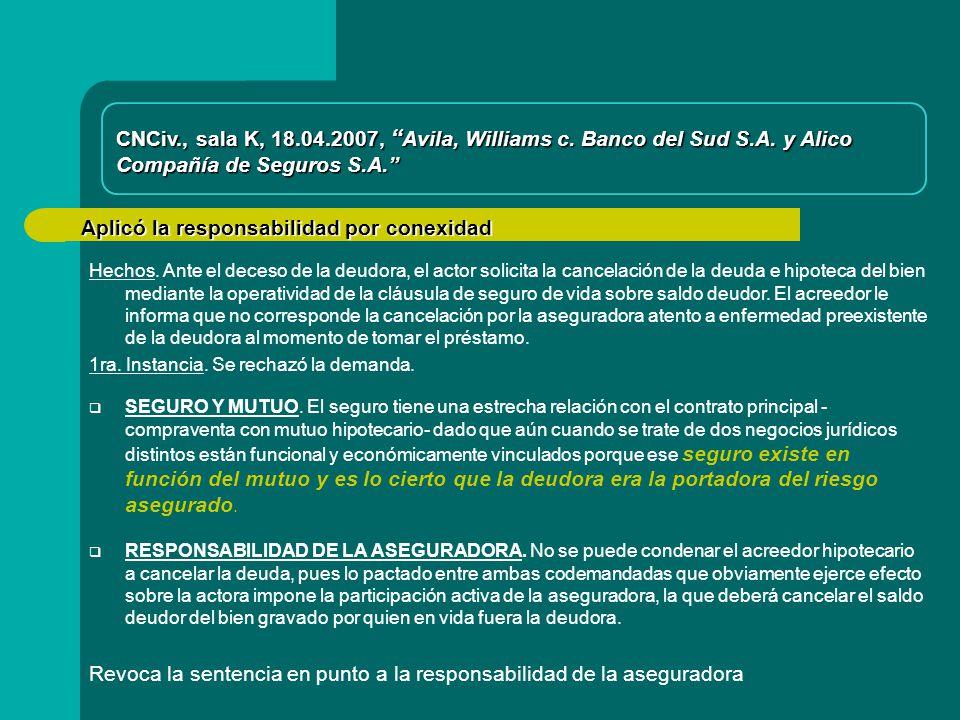 Aplicó la responsabilidad por conexidad CNCiv., sala K, 18.04.2007, Avila, Williams c.
