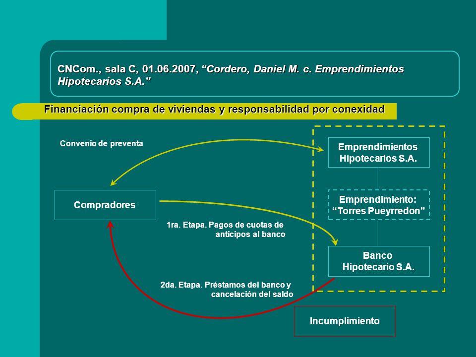 Financiación compra de viviendas y responsabilidad por conexidad Compradores Emprendimientos Hipotecarios S.A.