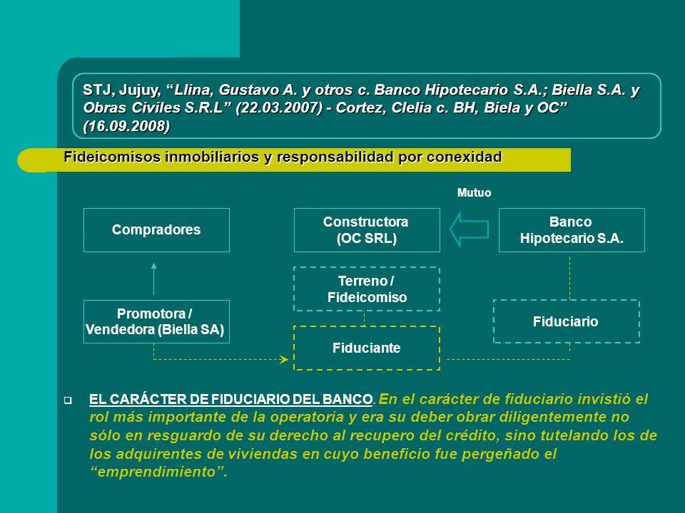 Fideicomisos inmobiliarios y responsabilidad por conexidad Compradores Promotora / Vendedora (Biella SA) STJ, Jujuy, Llina, Gustavo A.