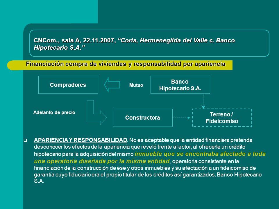 Financiación compra de viviendas y responsabilidad por apariencia Compradores Constructora CNCom., sala A, 22.11.2007, Coria, Hermenegilda del Valle c.