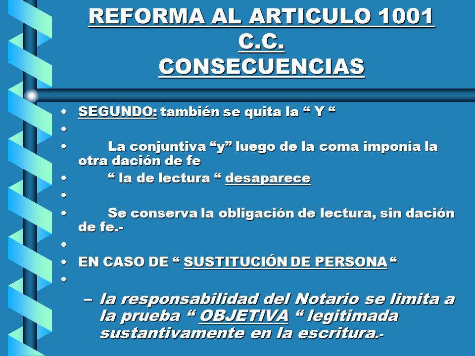 REFORMA AL ARTICULO 1001 C.C.