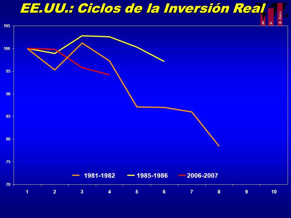 R A & Asoc. EE.UU.: Ciclos de la Inversión Real 70 75 80 85 90 95 100 105 12345678910 1985-19862006-20071981-1982